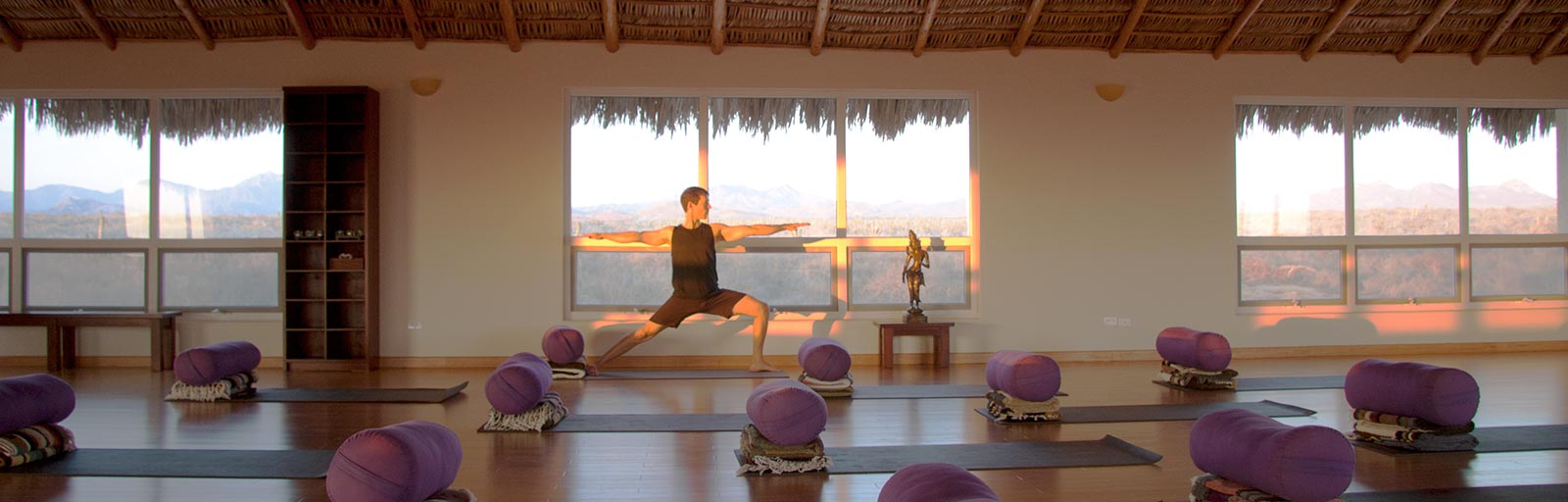 Mexico Yoga Retreat Yoga Studio: Practicing Yoga at Sunset